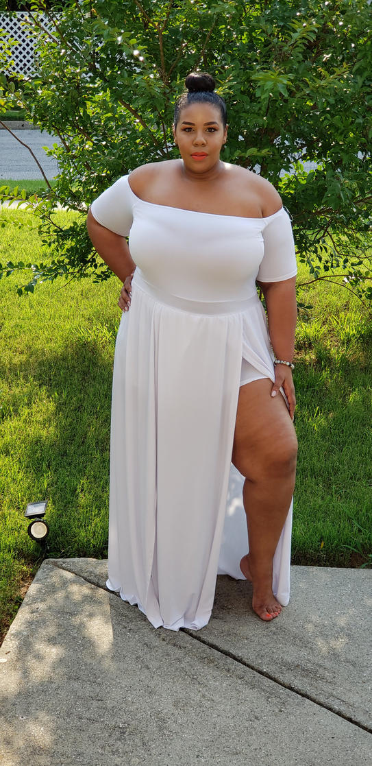 """abe338f482b90 The Second dress is the """"White Khloe Split Dress"""" This dress is a perfect  merge of Sexy and sophisticated! It s perfect for that rooftop dinner or if  for ..."""