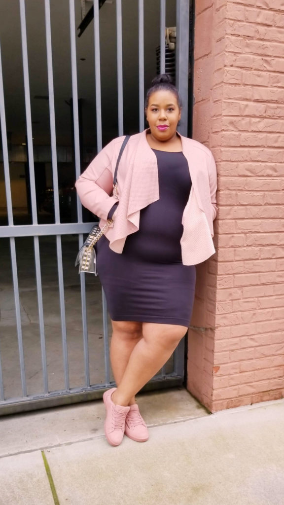 Plus size little black dress Sonsee Long Sleeve dress, Evine Kate And Mallory, JustFab Clear Crossbody, Yoins Stripped Clutch, JustFab Blush pink sneakers