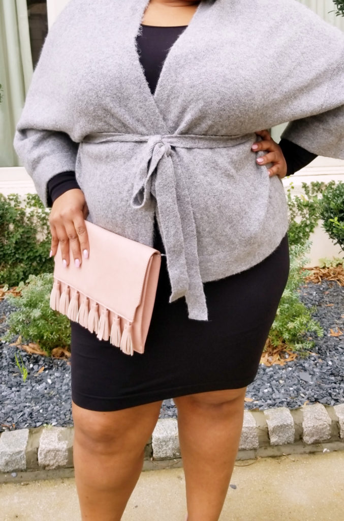Target Cardigan, Sonsee Long Sleeve dress, JustFab Tassel Clutch/ Crossbody Bag JustFab Blush Platform pump