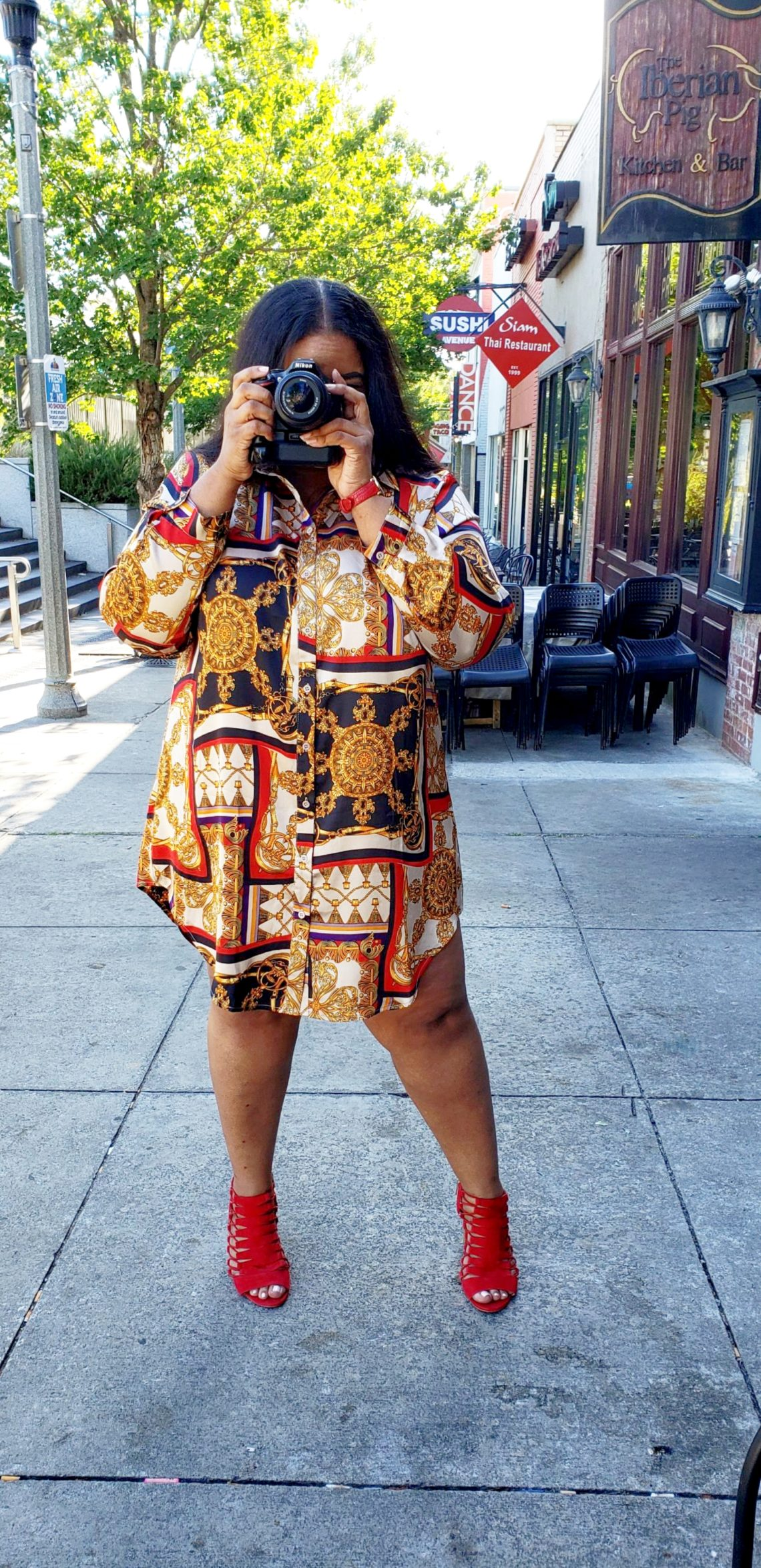 BooHoo Plus size Chain Printed Shirt Dress