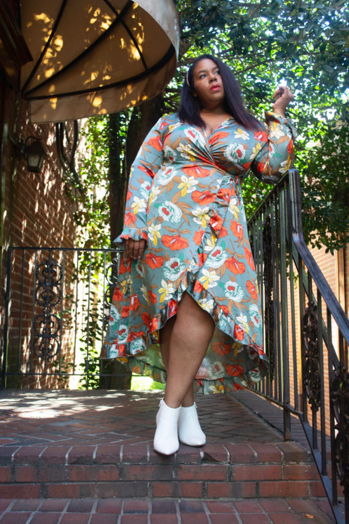 BooHoo Plus Size Floral Satin Wrap Dress